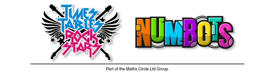 Times Tables Rock Stars and NumBots Logos. Part of Maths Circle Ltd.