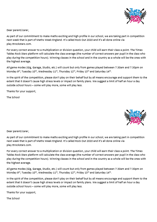Download your Maths Week England Rock Out 2020 Parent Letter