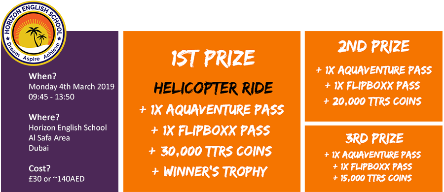15 minute helicopter flight for the winner plus a Flipbox and Aquaventure pass for each finalist.