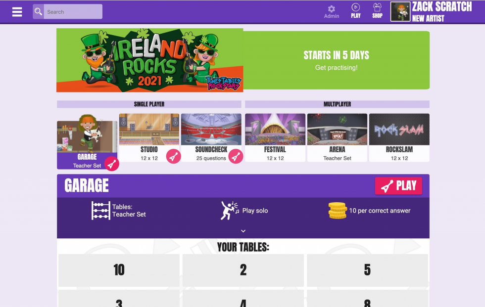 Times Tables Rock Stars Ireland Rocks 2021 Competition student view.