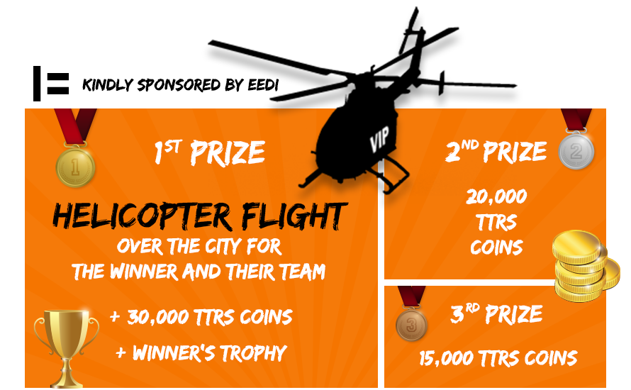 Rock Wrangle Prizes. First prize helicopter flight. Runners Up recieve TTRS coins