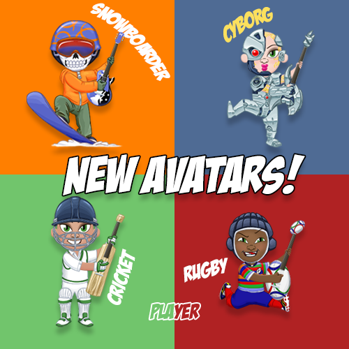 New Avatars! Rugby Player, Cricket Player, Cyborg and Snowboarder availible in the avatar store now.