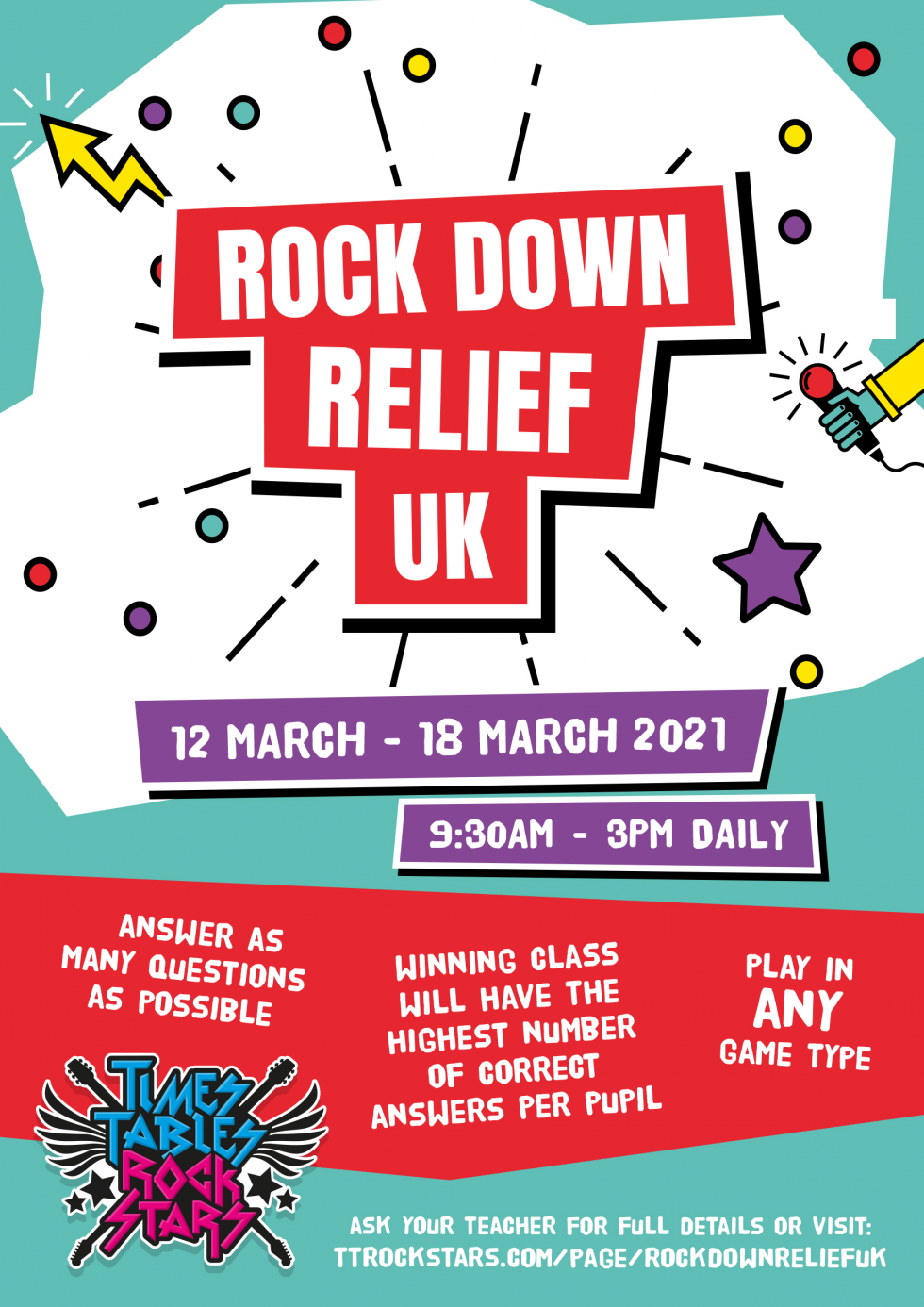Download your Rock Down Relief UK Poster now.