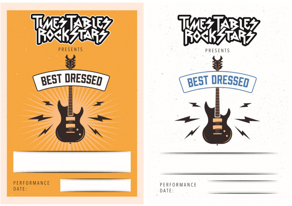Times Tables Rock Stars best dressed certificates full colour and reduced colour.
