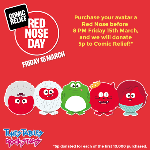 Help us raise money for Comic Relief Red Nose Day by purchasing a Red nose in the avatar shop.