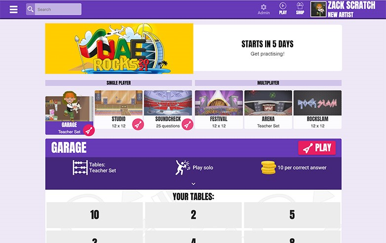 Times Tables Rock Stars UAE Rocks 2021 Competition student view.
