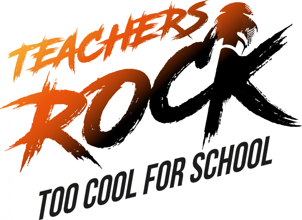 Teachers Rock Too Cool For School Logo White